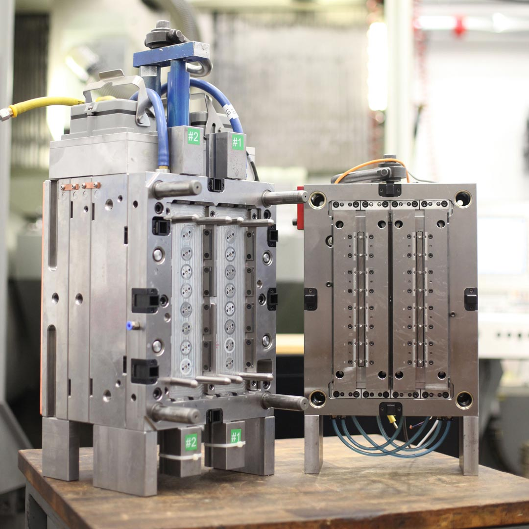 A precision mold ready to be assembled